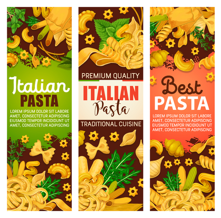 Pasta from Italy banners for Italian cuisine or restaurant menu. Vector of spaghetti or macaroni, farfalle or pappardelle and lasagna, ravioli, fettuccine and tagliatelle with greenery or seasoning