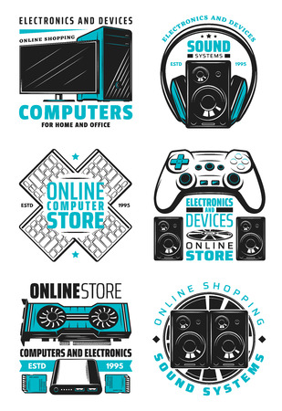 Electronic devices and computer online store icons. Vector home and office appliances, PC notebook, audio and video multimedia players, Hi-Fi systems and game consoles with joystick and headphones Illustration