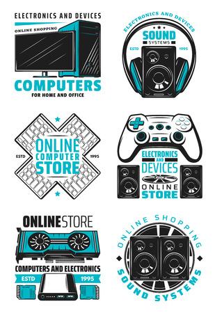 Symbole für elektronische Geräte und Computer-Online-Shops. Vektor-Haushalts- und Bürogeräte, PC-Notebook, Audio- und Video-Multimedia-Player, HiFi-Systeme und Spielekonsolen mit Joystick und Kopfhörern