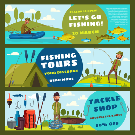 Fishing sport tours or fisherman tackles and equipment. Vector cartoon fisher man in rubber boat on lake or sea with rod, fish catch theme Illustration
