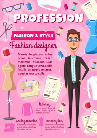 Fashion designer man or dressmaker profession tailoring poster. Vector dress or woman blouse on dummy. Mannequin, model of garment, fitting pattern. Threads with sewing machine and needle or scissors