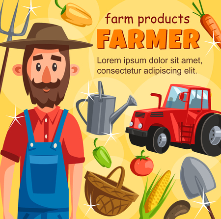 Farmer agrarian poster with harvest. Agriculture and farming, man with tractor collect vegetable, watering can and wicker basket, corn and carrot, tomato and bell pepper, forks and spade, vector farm