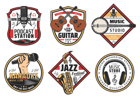 Musical instruments and devices for listening icons and signs for music festival, store, podcast station and recording studio. Microphone and acoustic guitar, banjo and saxophone, headphones and notes 矢量图像