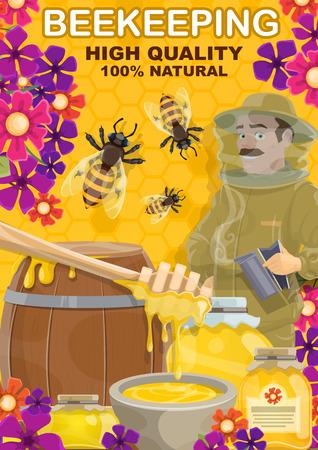 Productos de apicultura y miel. Vector apicultor hombre en colmenar con cuchara, barril de madera y tarro de cristal, las abejas pululan en flores sobre fondo de panal