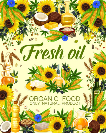 Natural oil of sunflower seeds, olive and corn, peanuts and linseed, wheat and hemp. Oils for cosmetics, pharmaceuticals and soaps, frying food and dressing salads in glass and plastic bottles vector