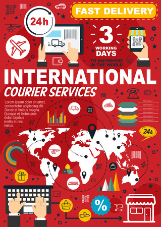 Fast delivery and international courier service infographics. Vector statistics of mail and order shipping on world map, User shopping cart and purchase percent share with delivery diagrams