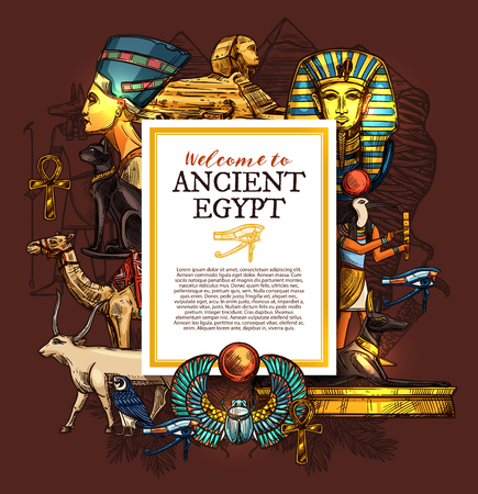Ancient Egypt travel, history and culture poster, tourist vacation services, architecture landmarks and Pharaoh statues, sphinx and luxor treasures, camel and goat, cat and doberman vector Иллюстрация