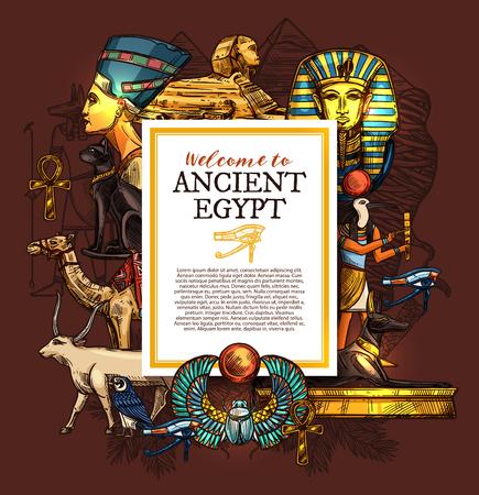 Plakat podróżniczy, historia i kultura starożytnego Egiptu, usługi wakacji turystycznych, zabytki architektury i posągi faraona, skarby sfinksa i luksoru, wektor wielbłąda i kozy, kota i dobermana
