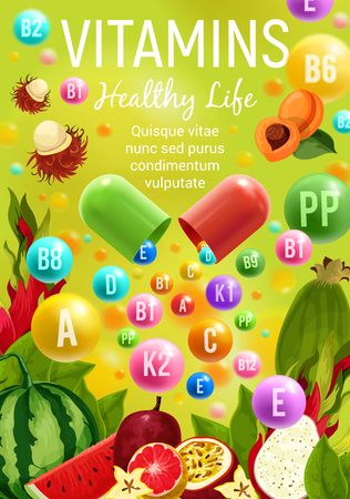Vitamins and minerals in fruits healthy food. Vector multivitamins in apricot, exotic tropical rambutan or watermelon and passion fruit, citrus orange or grapefruit and dragonfruit