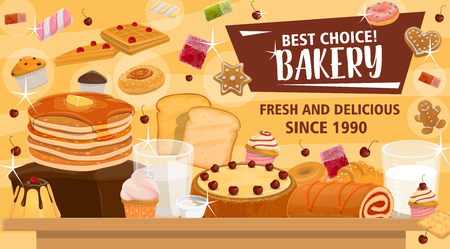 Bakery and sweet shop, confectionery icons poster. Cake and cupcake, pancakes and waffle, bread and muffin, cookie and roll with jam, marshmallow and donut, marmalade and gingerbread vector sweets