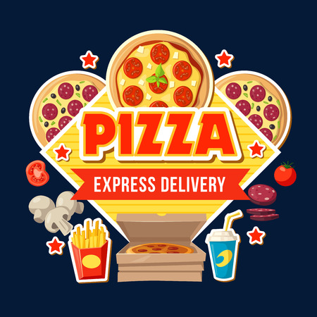 Fast food menu poster for pizza delivery or cafe and fastfood restaurant bistro. Italian cuisine elements with mushrooms and salami, tomato and french fries or soda in paper cup, vector takeaway food Banque d'images - 109367838