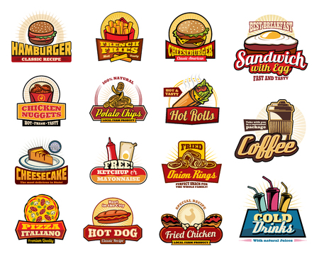 Fast food cafe and restaurant icons, menu or fastfood bistro signs. Vector hamburger, cheeseburger and fries, breakfast sandwich with egg and bacon, chicken nuggets and rolls with coffee drink