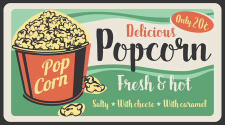 Popcorn fast food sweet desserts snack poster, fastfood restaurant or cinema bistro menu. Vector vintage design of salty popcorn bucket with caramel glaze Illusztráció