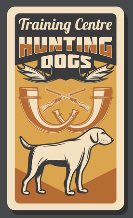 Hunting training center for hunter dogs, retro poster. Vector hunt rifle guns, horns and elk antlers, wild animals hunting adventure vintage retro theme