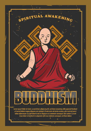 Buddhism Oriental religion poster with bald monk sitting in lotus pose. Religious calm person from India in red robe doing meditation with endless knot symbol, spiritual awakening banner vector Vectores