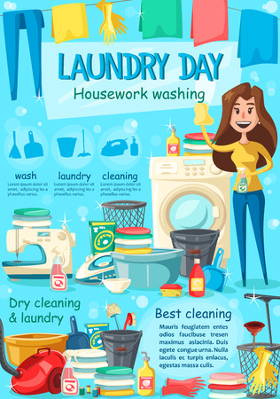 Laundry poster housewife and washing machine, detergent and fresh washed linen clothes. Vector housework washing and iron, vacuum cleaner and sewing machine, towels and mop with sponge, dry cleaning Ilustração