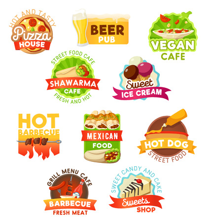 Fast food vector icons. Fastfood restaurant, beer pub or cafeteria and pastry shop bistro takeaway and delivery. Pizza, vegan salads or shawarma and ice cream with hot dog sausage and kebab