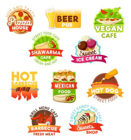 Fastfood vector iconen. Fastfoodrestaurant, biercafé of cafetaria en banketbakkerij, afhaalmaaltijden en bezorging. Pizza, veganistische salades of shoarma en ijs met hotdogworst en kebab