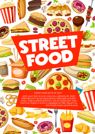 Street food, fastfood sandwiches, snacks and meals. Vector pizza, cheeseburger or hot dog, Mexican burrito with tacos, popcorn and noodles, kebab barbecue and onion rings with fries