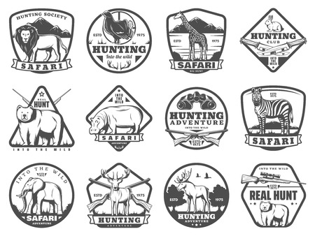 Hunting icons of lion, rabbit, forest grouse bird and bear, elephant and elk antlers. Vector hunter rifle guns, trap and equipment. Hunt club badge and African safari adventure theme 向量圖像