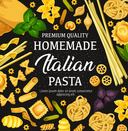 Pasta in Italian cuisine, traditional restaurant. Vector spaghetti, fettuccine or farfalle and rigatti or gnocchi macaroni, olive oil or basil and rosemary. Pasta cooking theme