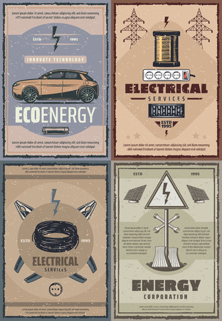 Electrical service and energy power. Vector electric car or electrocar on battery, power plant and solar panels with voltage wires, cables and electrician tools Illustration