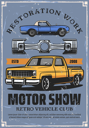 Motor show retro poster with automobile restoration work. Vector vehicle and part, rarity transport or old pickup and cabriolet, garage station, transportation repairing, car instauration service  イラスト・ベクター素材