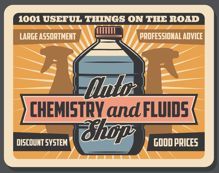 Vector car chemistry and fluids, auto store. Vintage auto mechanic service, engine oils and antifreeze coolant assortment, vehicle repair and maintenance