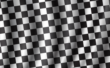 Car races or auto rally flag with 3D wavy pattern. Vector checkered background, racing sport flag with checkers. Bike or motocross races competition or championship design