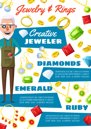 Jeweler profession, golden wedding rings and diamonds. Vector cartoon man expert in jewelry with gemstones, emerald bijou necklaces, ruby earrings with crystals and sapphire pendants