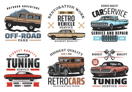 Car service tuning or restoration symbols for repairing garage. Off-road vehicle and outdoor adventure, retro transport restoration work and auto parts icons and signs with wrenches vector isolated Illustration