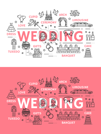 Wedding ceremony or marriage line art poster with outline icons. Cupid with bow and flower arch, limousine and cake, banquet and gifts, tuxedo and dress or gown, love and affection symbols vector