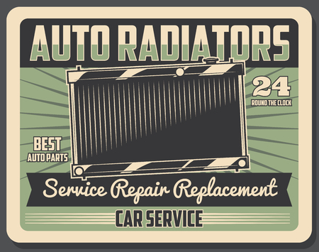 Car repair service and auto parts retro poster. Vector car diagnostics, spare parts fix of car engine on grunge backdrop. Automobile repairing garage station works round the clock, parts replacement Illustration