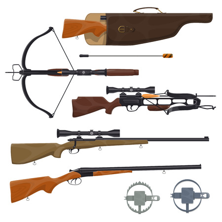 Hunting equipment and weapons icons. Vector rifle gun in holster, arbalest or crossbow arblast with optical sight and trap.Wild animals or hunt shooting training theme Illusztráció