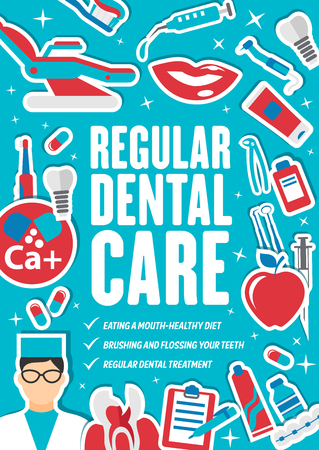 Dental clinic, dentistry medical care center. Vector dentist doctor with dental treatment recommendations, implants and orthodontic braces, apple or smile and pills or toothbrush