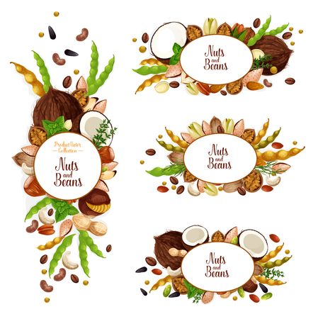 Nuts and beans icons and signs. Organic coconut, peanuts, pistachios and walnuts kernels. Vector vegan or vegetarian harvest, sunflower seeds, cashews or almonds and macadamia, peas and coffee vector Illustration