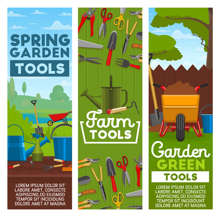 Farm tools and gardening equipment. Vector gardener wheelbarrow with soil, watering can or bucket, planting and hammer, secateurs scissors or spade and rake with hoe hack or pitchfork
