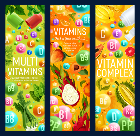Healthy organic food with vitamins and multivitamin complex. Vector vitamin capsules or pills with tropical exotic fruits, natural vegetables and vegan salads