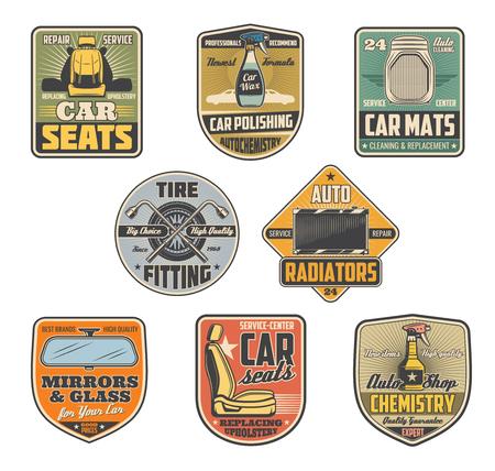 Servicio de reparación de automóviles iconos retro vintage para tienda de automóviles. Vector de piezas interiores de vehículos, espejos y vidrios, radiador y química para limpieza, montaje de neumáticos, alfombrillas para salón, pulido de química