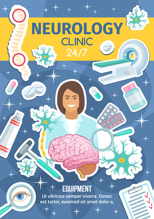 Neurology clinic, neural healthcare. Vector neurologist doctor and medicine treatments and surgery doctor items, brain tomography of MRI scanner, spine joints or nerve cells