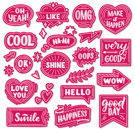 Pink paper stickers with phrases or words and exclamations. Heart-shaped, round and arrow tags with short statements girlish signs. Lettering cool and like, make it happen cards vector isolated Stok Fotoğraf - 128161370