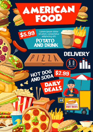 American fast food menu poster for fastfood restaurant or delivery. Vector of cheeseburger and burger, pizza or hot dog, sandwich and ice cream, french fries or chicken nugget snacks and coffee drink