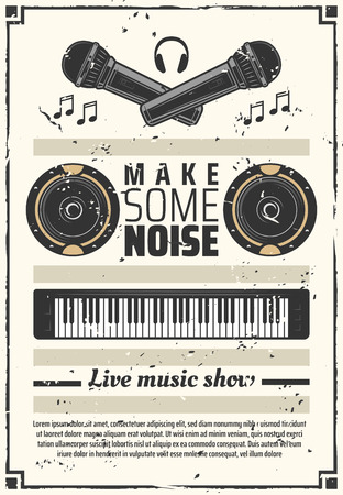 Live music show or festival retro poster musical instruments. Microphone and headphones, speakers and synthesizer keyboard generating and combining signals. Leaflet with notes and icons vector Illustration
