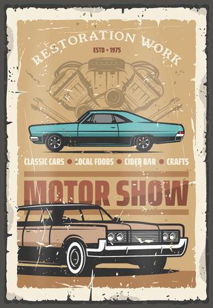 Poster retrò per auto d'epoca motor show per lavori di restauro di automobili. Disegno vettoriale del veicolo, invito squallido per la mostra di trasporto di rarità, stazione del garage, vecchio vettore di riparazione del trasporto
