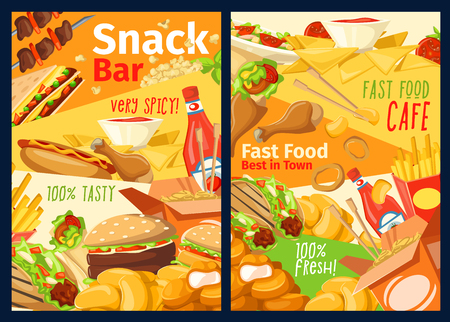 Fast food snacks menu of pizza, cheeseburger or hot dog, Asian noodles, kebab barbecue and onion rings with fries. Vector fastfood restaurant, pizzeria or cinema bistro delivery Illustration