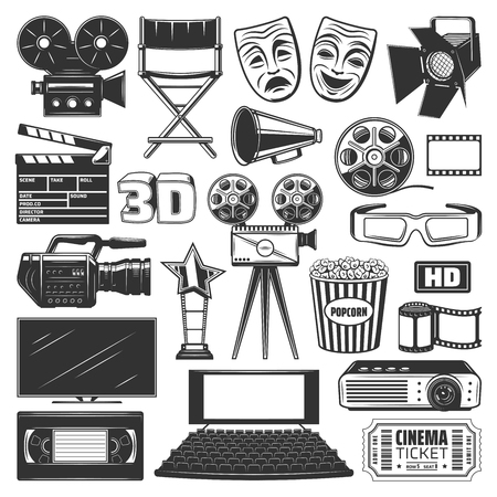 Cinema or movie production devices and equipment icons and signs. Camera and directors chair, projector and clapperboard, film reel and 3D glasses, popcorn and screen or TV, cassette and ticket vector