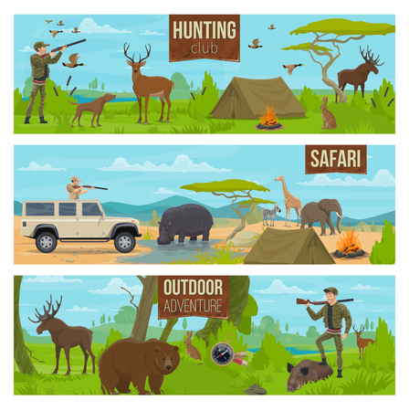 Hunting sport of safari banners with hunter holding rifle, forest and african wild animals. Moose and deer, rabbit and duck, bear and boar, giraffe and elephant, hippo and zebra, trained dog vector