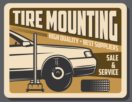 Car service retro poster, tire mounting and sale store. Vector vintage design of auto mechanic repair center with vehicle and jack in garage station 일러스트