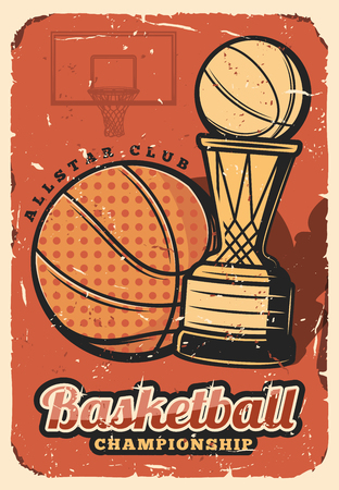 Basketball league, college team championship retro design. Vector basketball ball and victory cup, sport game tournament