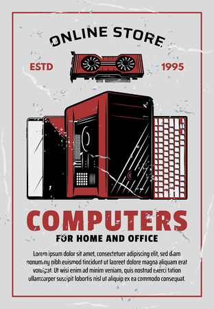 Electronics online store advertisement, retro style. Vector PC monitor or desktop computer with keyboard and cooler fan, smart devices mobile phone and internet tablet